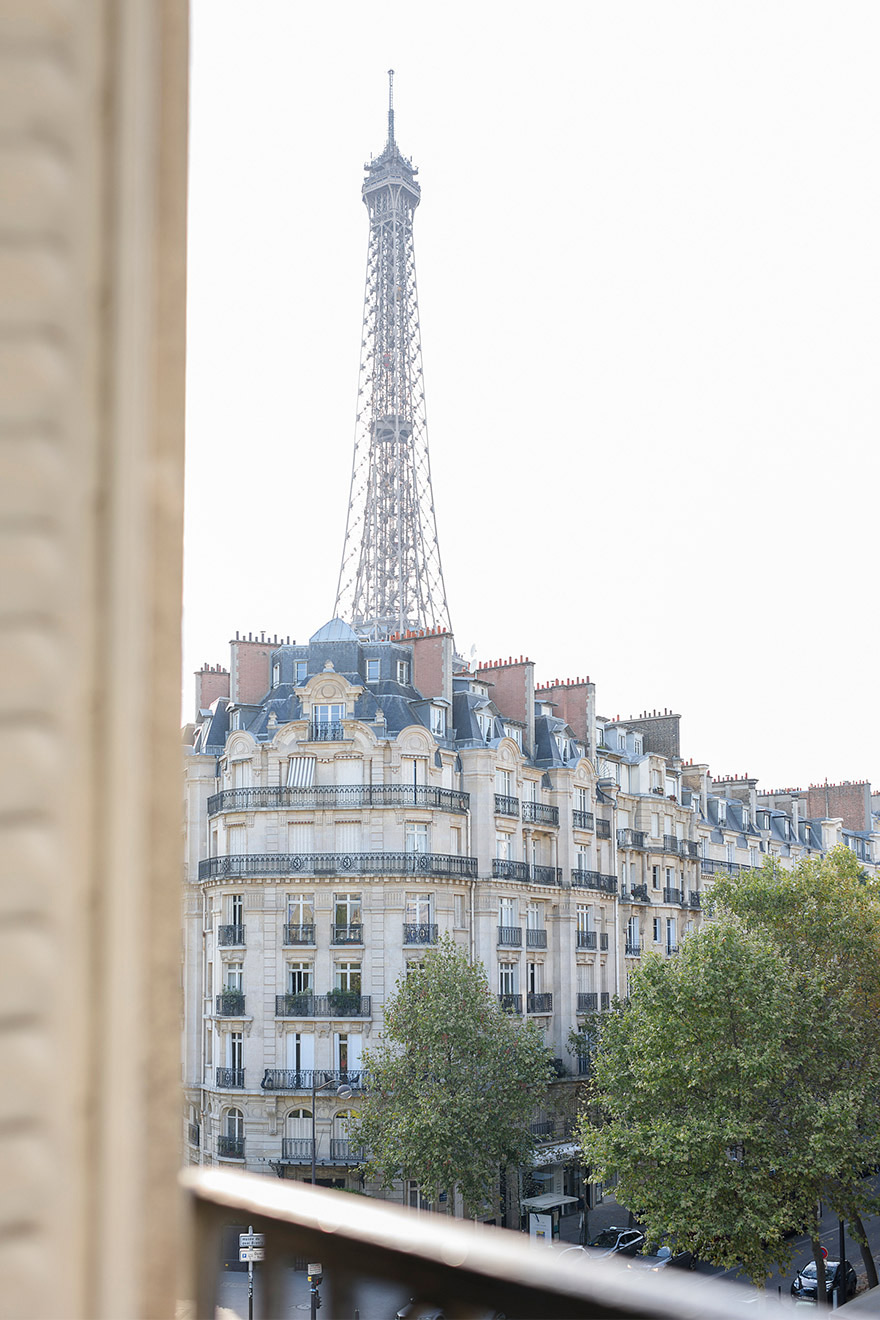 Eiffel Tower view from the French windows in the Clairette vacation rental offered by Paris Perfect