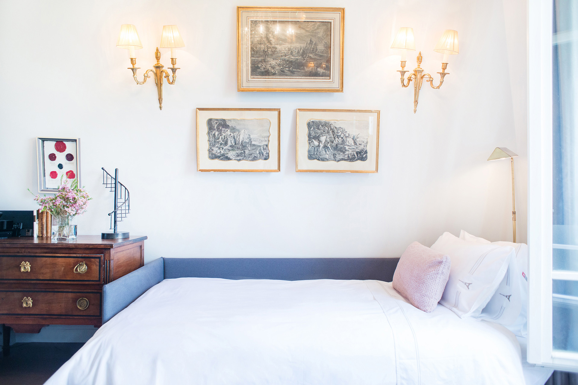 Couch converts to a comfortable bed with a memory foam mattress in the Cremant vacation rental