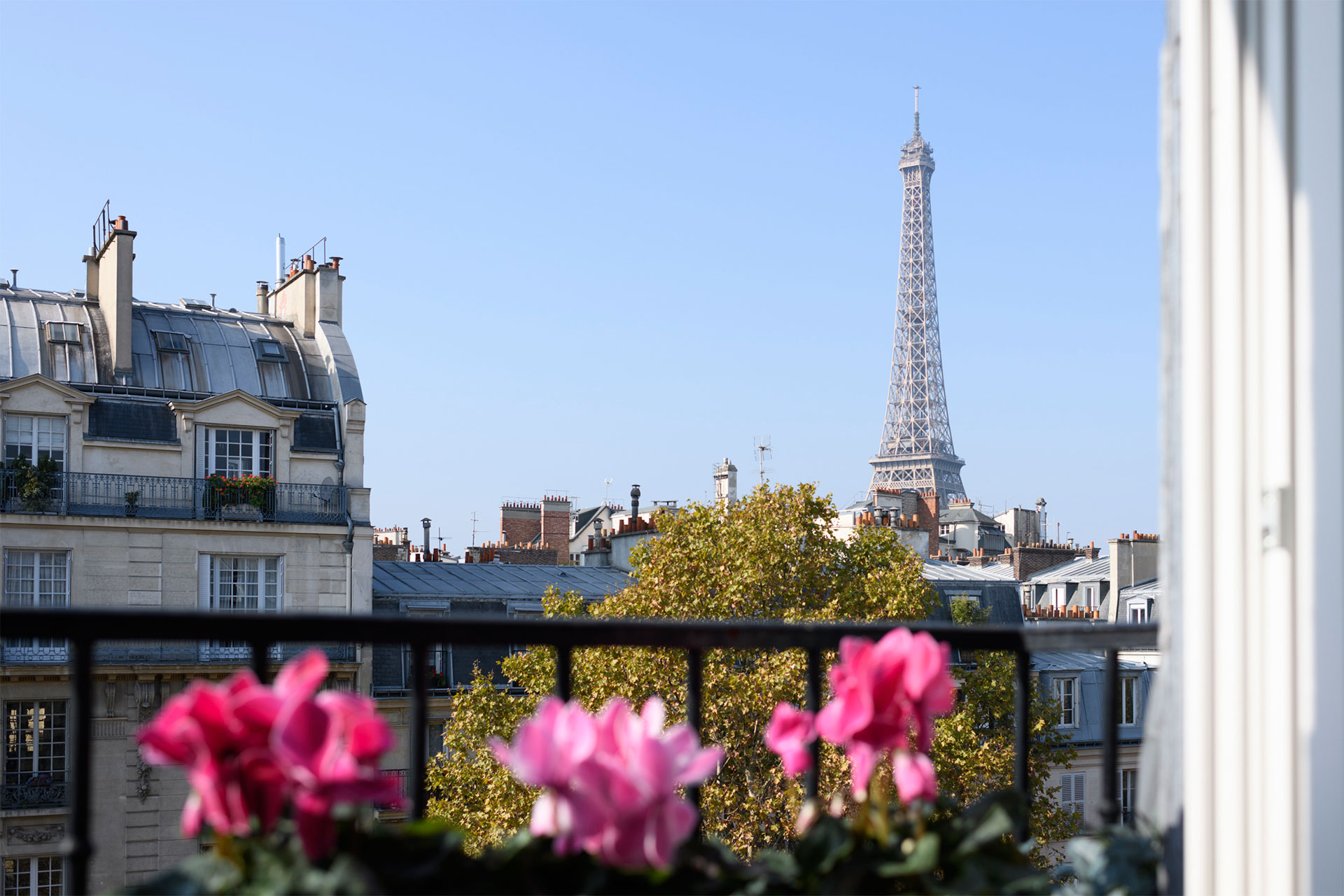 The Eiffel Tower peeking over the Parisian rooftops in the Cremant Paris Perfect rental