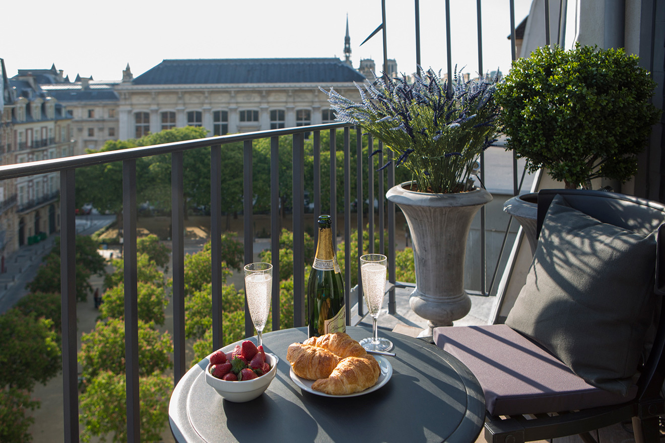 Champagne, croissants and a view from the Savennières vacation rental offered by Paris Perfect