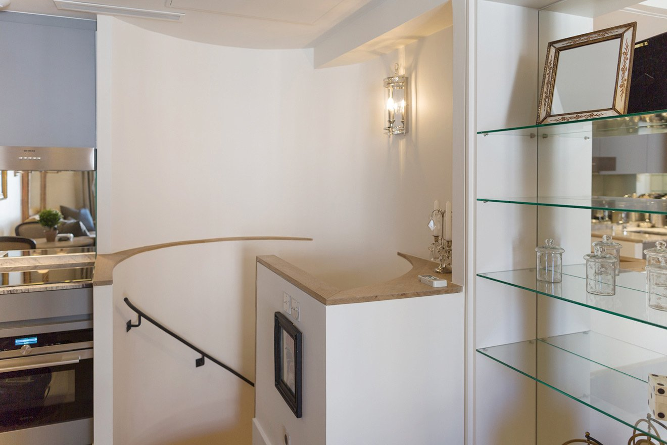 Staircase leads to the bedroom in the Monbazillac vacation rental offered by Paris Perfect
