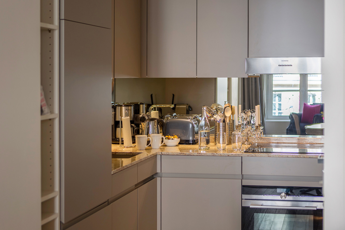 Fully equipped kitchen with top of the line appliances in the Muscat vacation rental offered by Paris Perfect
