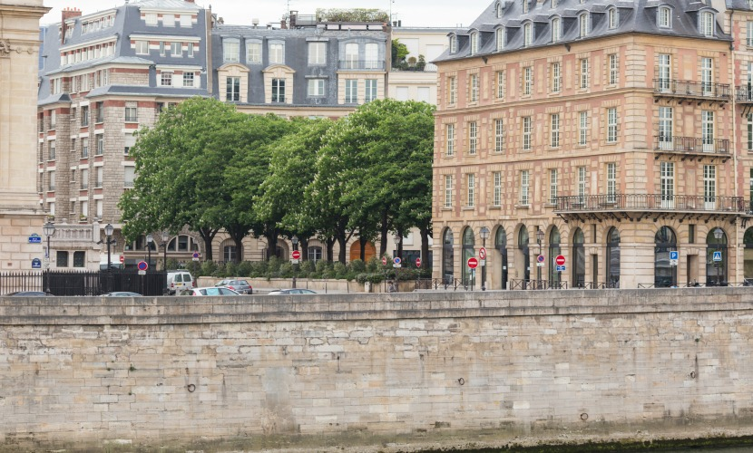 View towards Place Dauphine from across the river