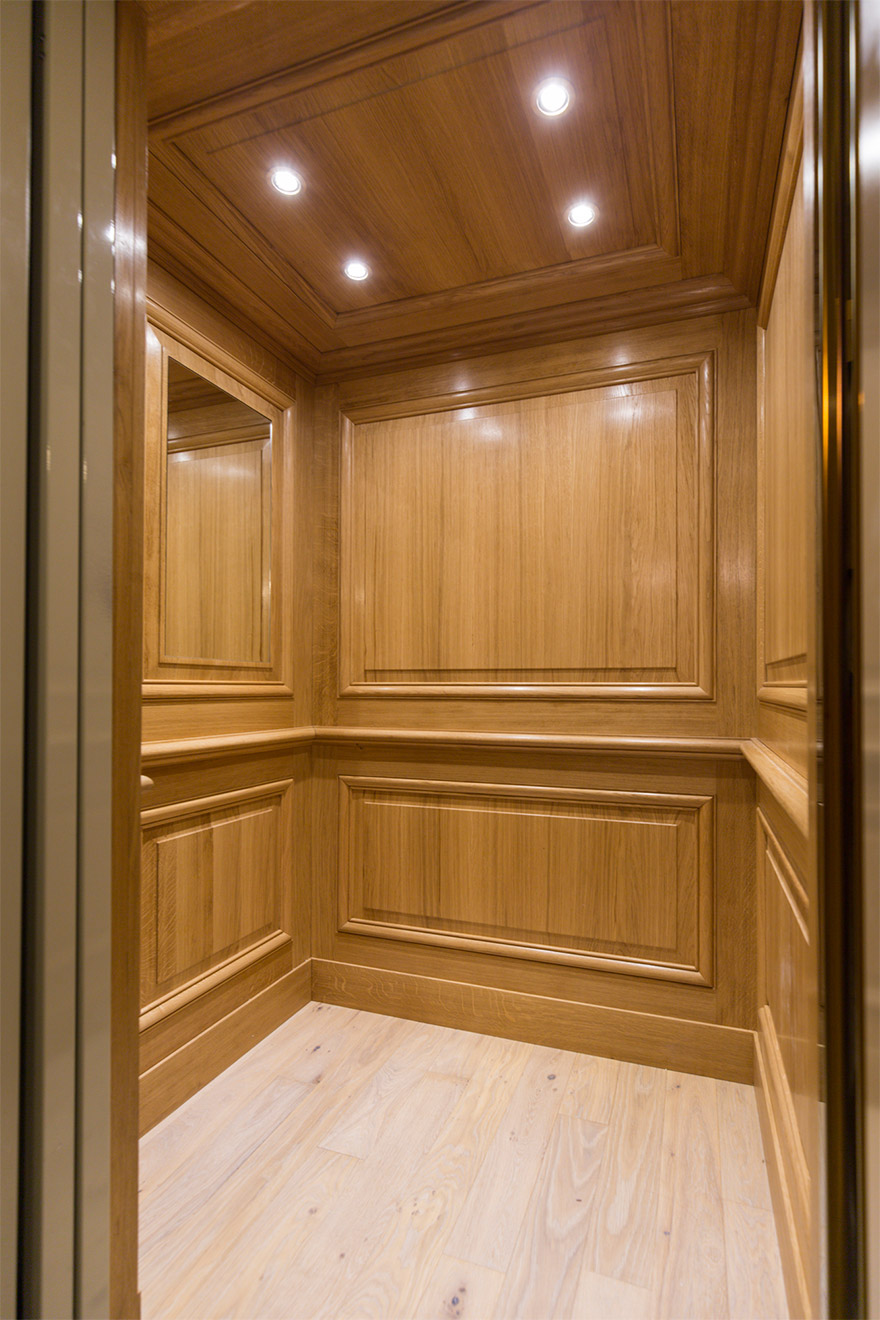 Modern elevator that can accomodate 2 guest and 2 suitcases