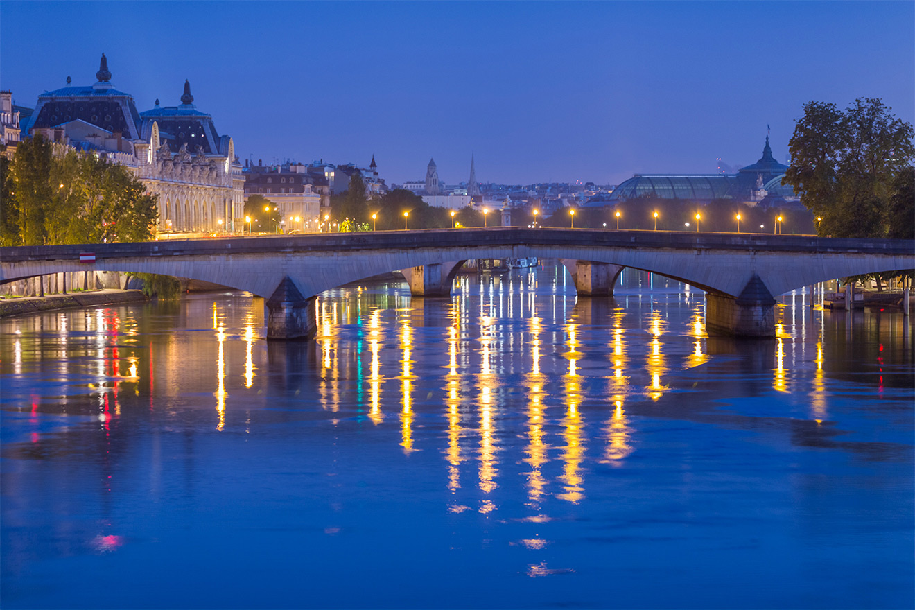The Seine River at night in Paris