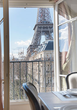 Eiffel Tower View from Dining Table