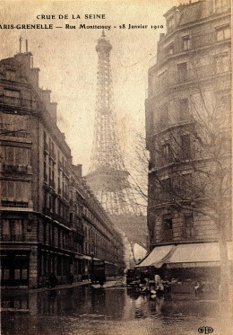 Famous view of Eiffel Tower in 1910 from near Monthelie