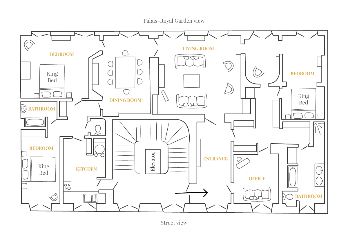Floorplan of the Chopine apartment offered by Paris Perfect