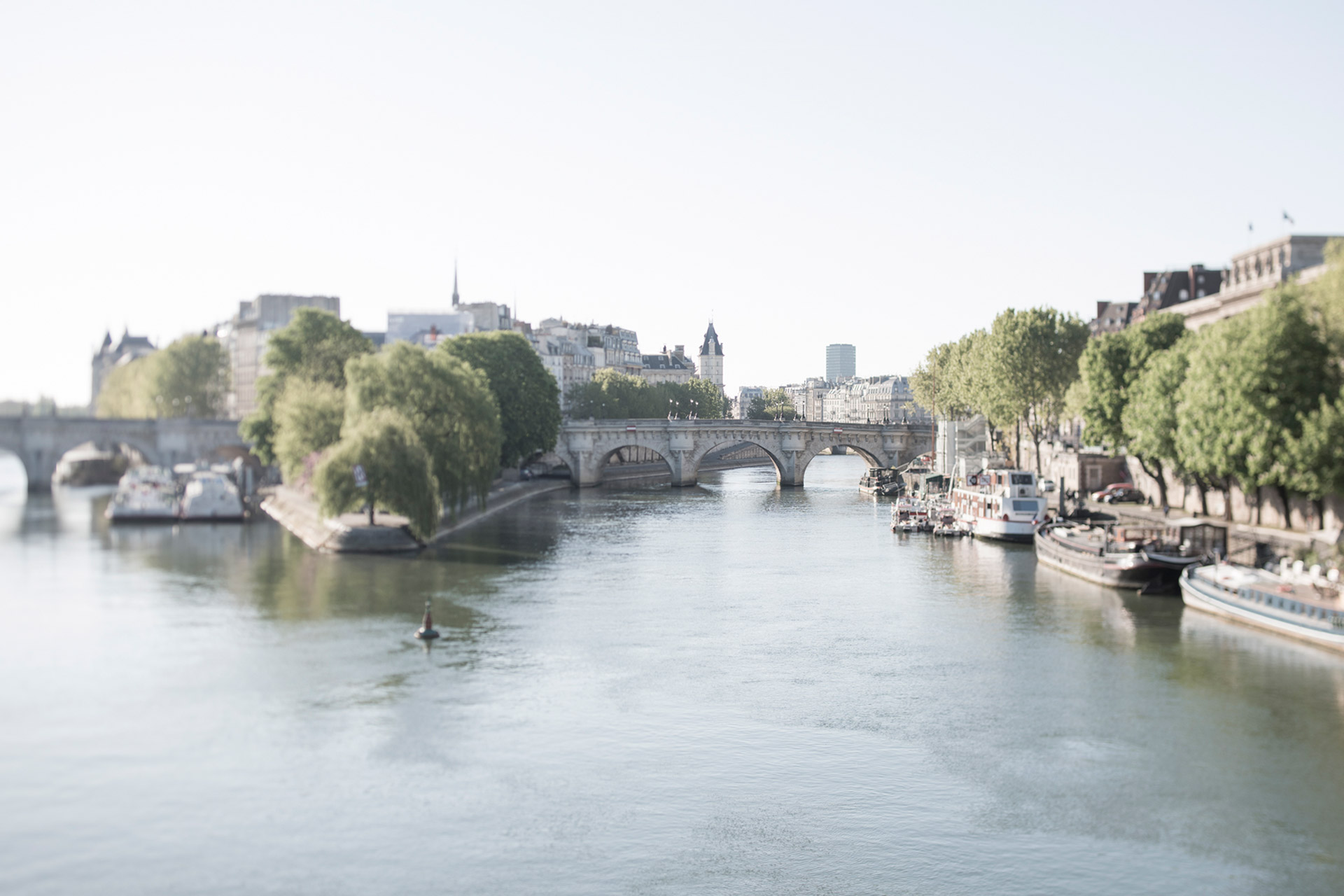 View of Ile de Cite and the Seine river in Paris
