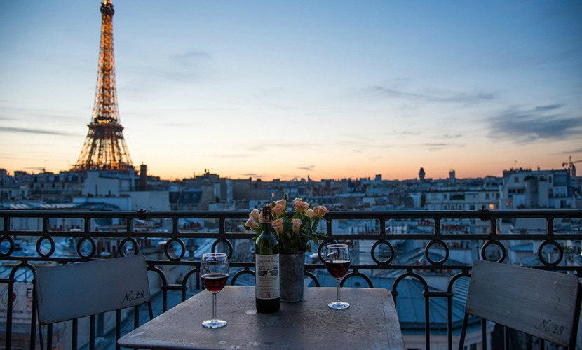 View of the Eiffel Tower from the balcony of the Cognac vacation rental offered by Paris Perfect