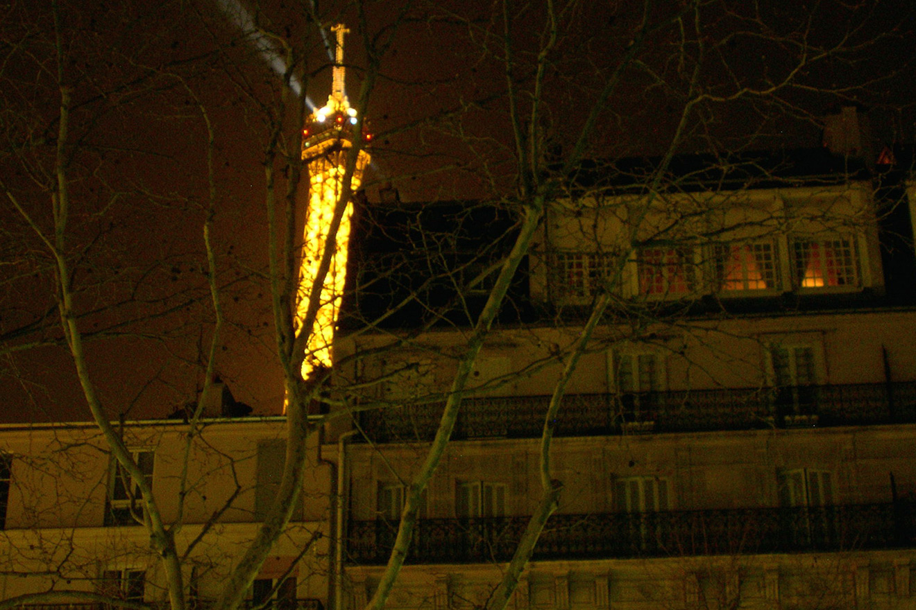 View of the Eiffel Tower through trees
