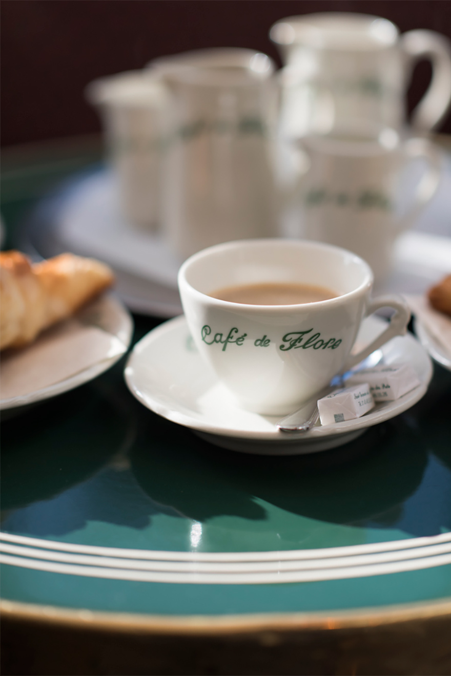 Authentic cup of French coffee in Cafe de Flore