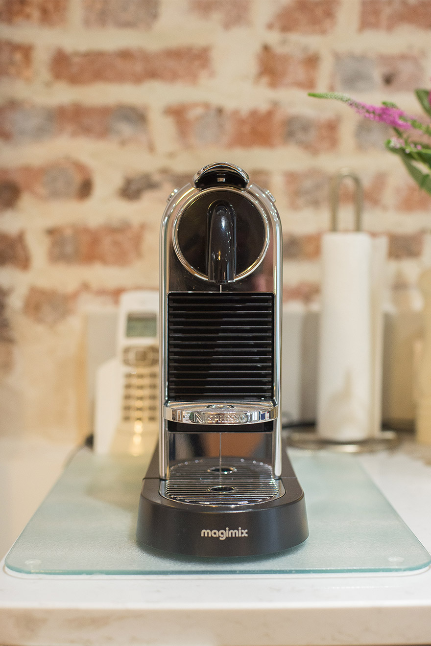 Nespresso machine in the Lascombes Paris Perfect vacation rental for easy mornings