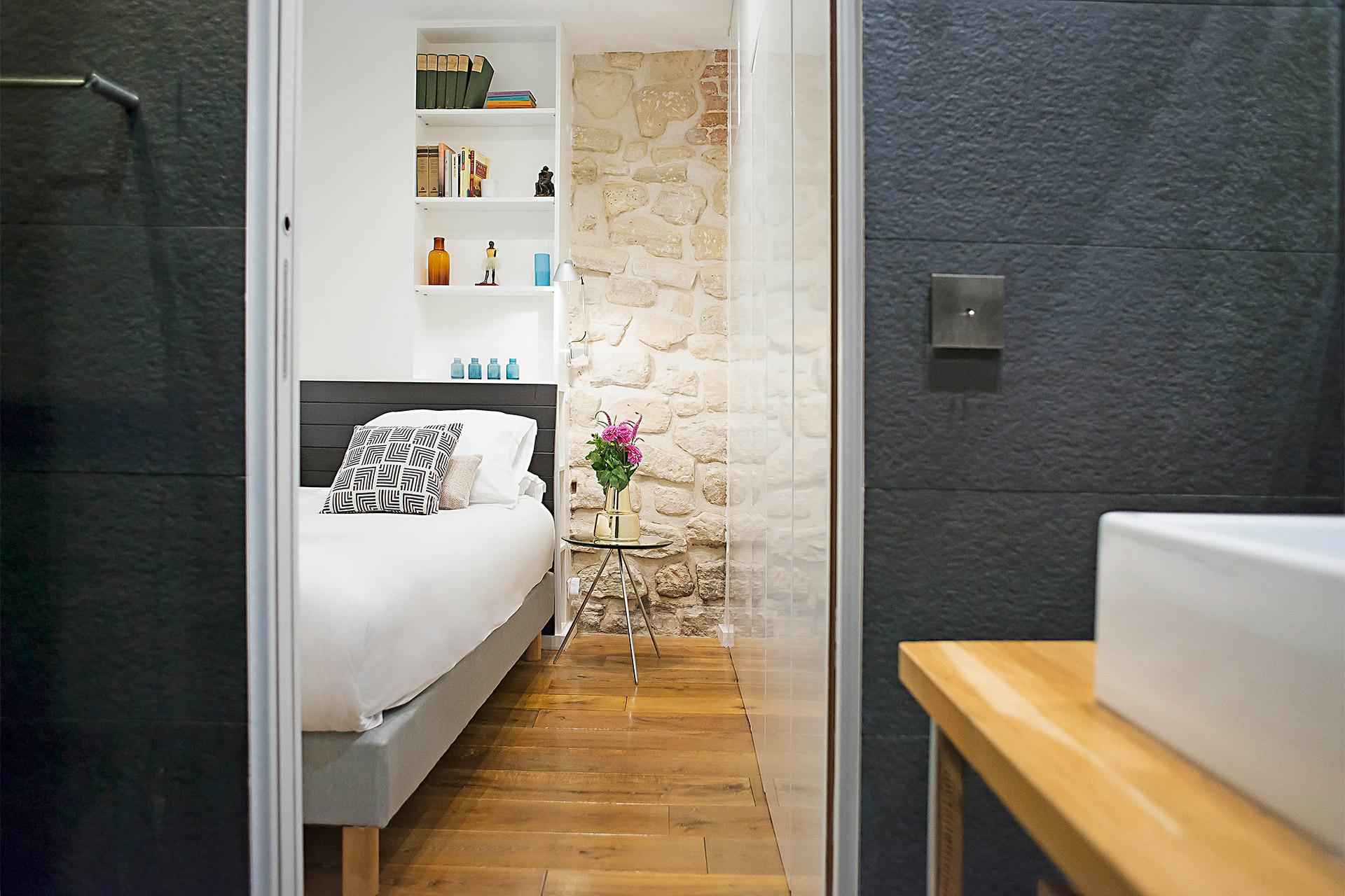 View from the en suite bathroom towards bedroom 1 in the Lascombes rental