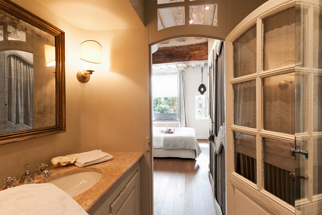 View from the bathroom towards the bedroom