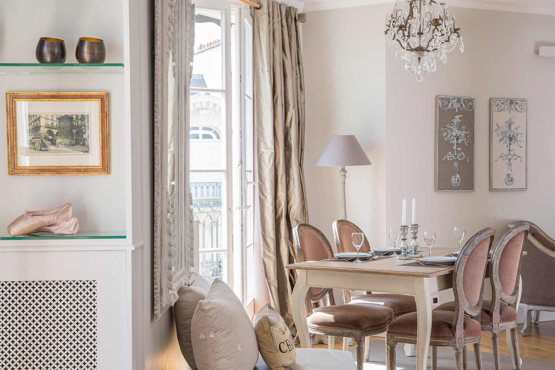 View from the seating area towards the dining table in the Margaux vacation rental offered by Paris Perfect