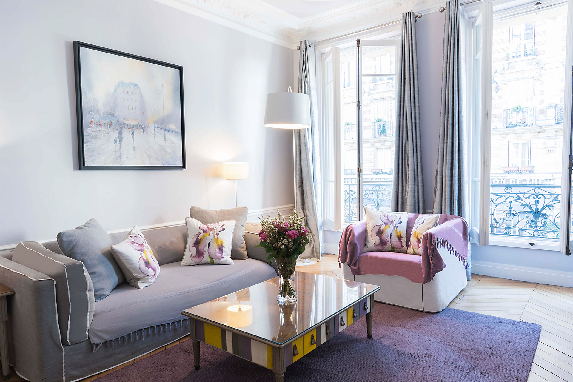 Gorgeous seating area of the Maubert vacation rental offered by Paris Perfect