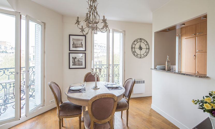 Dining Room in Champagne Apartment Rental Paris