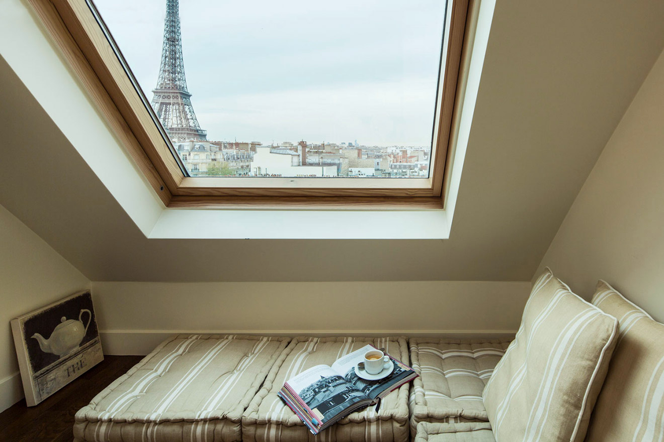 Bedroom 2 seating gallery in the Chateau Latour vacation rental by Paris Perfect