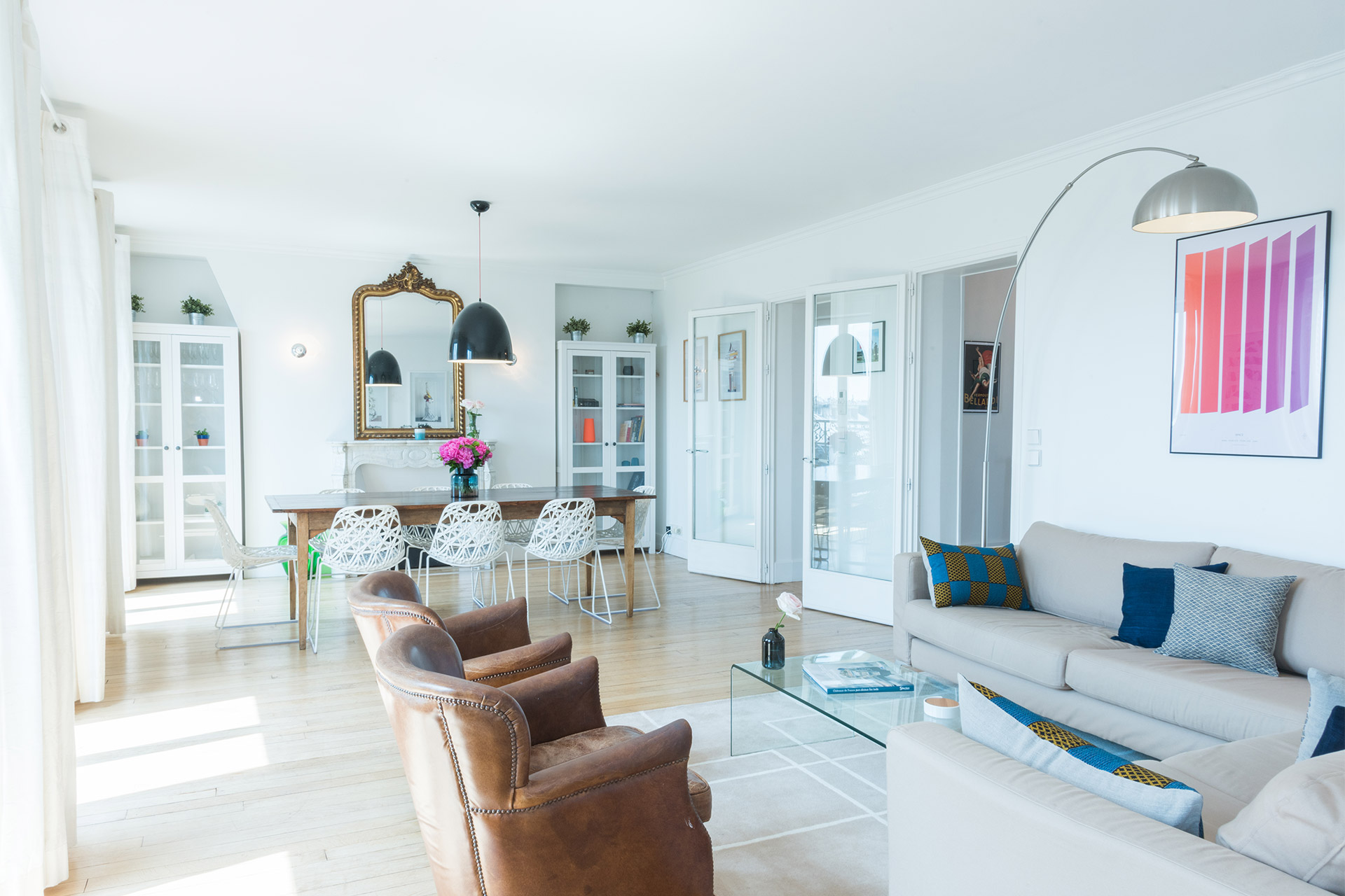 Spacious open plan living and dining area of the Mondeuse vacation rental offered by Paris Perfect