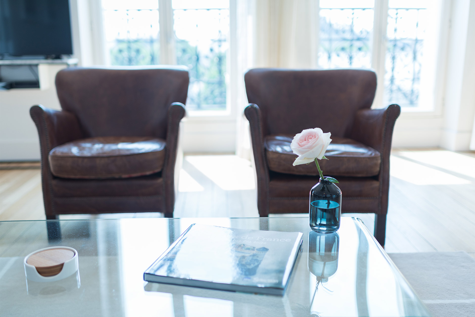 Two stylish leather arm chairs in the Mondeuse vacation rental offered by Paris Perfect