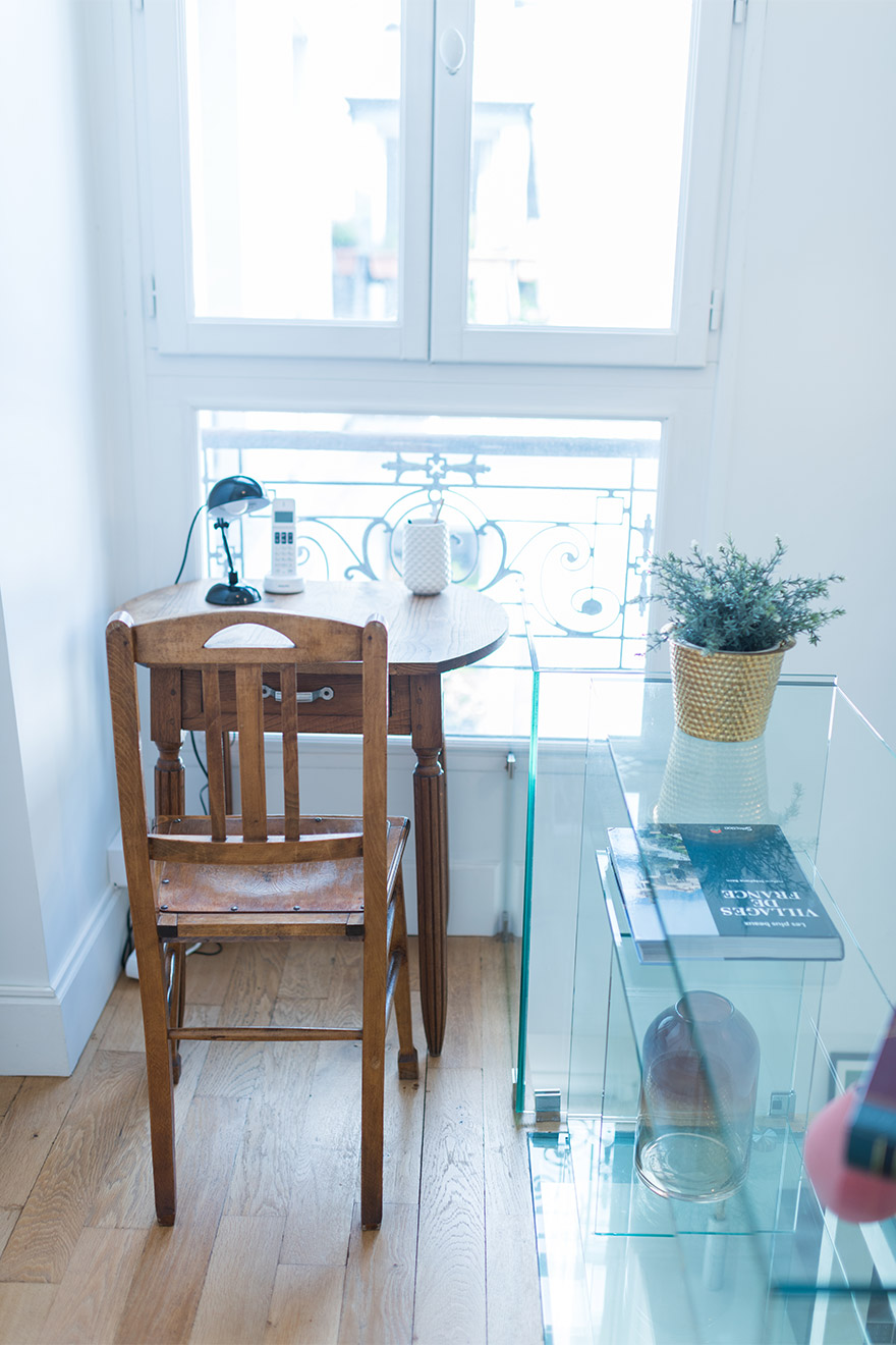 Charming antique desk in the Mondeuse vacation rental offered by Paris Perfect