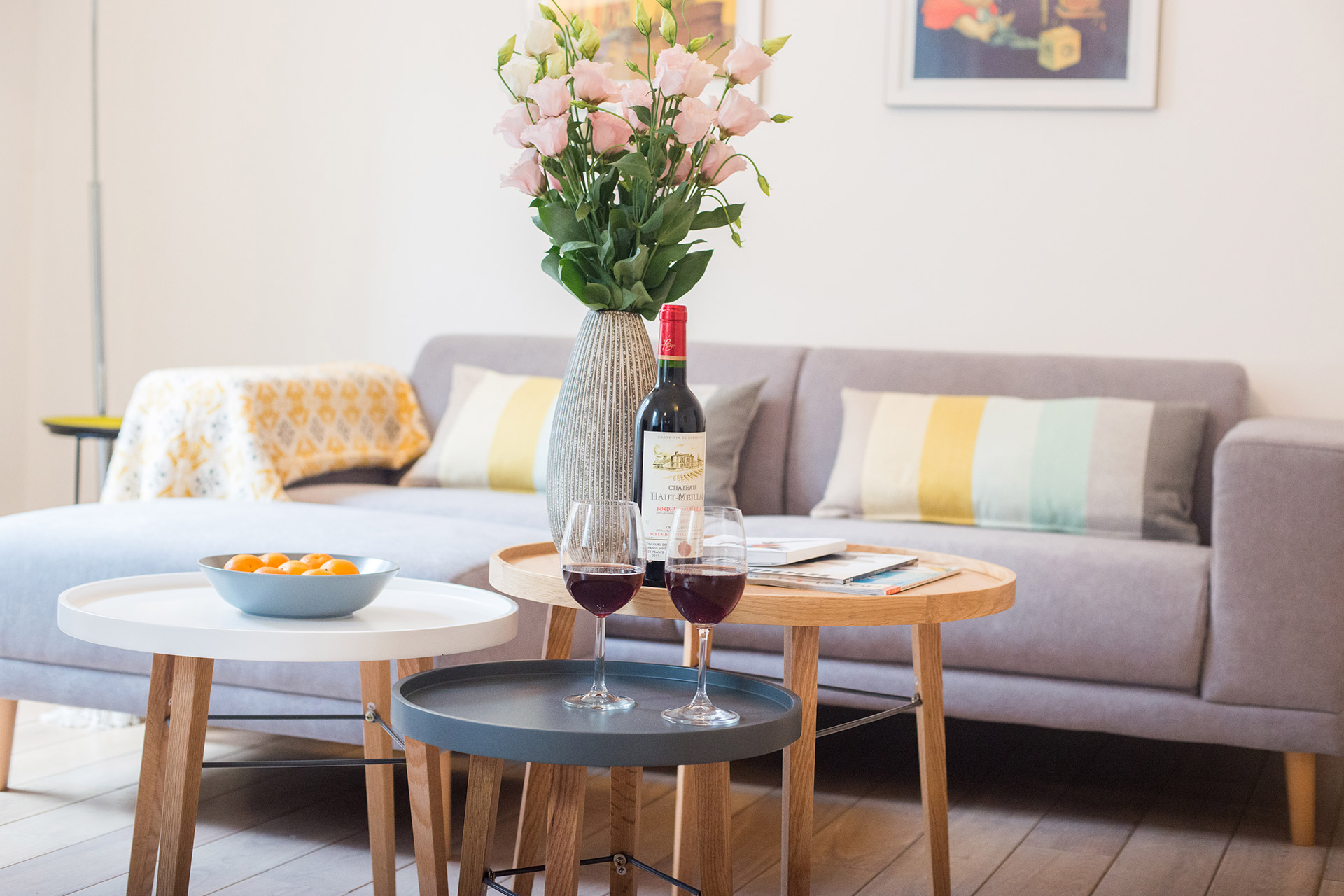 Put your feet up and enjoy a glass of wine in the living room of the Monplaisir vacation rental offered by Paris Perfect