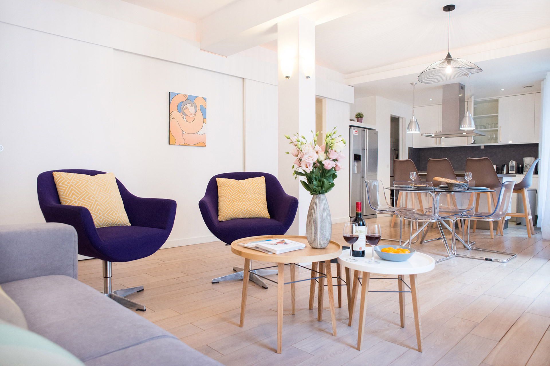 Living in comfort made easy with the open plan layout of the Monplaisir vacation rental offered by Paris Perfect