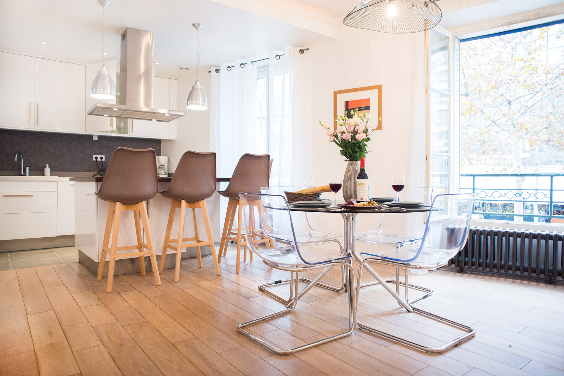 Dining table for four of the Monplaisir vacation rental by Paris Perfect