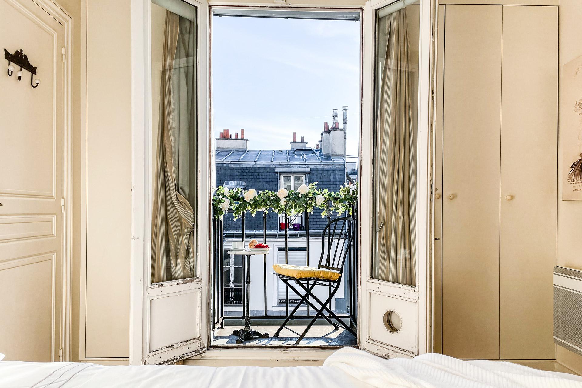 View towards the Parisian bedroom balcony