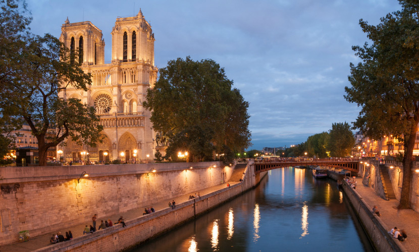 Stroll over to see the Notre Dame Cathedral at night