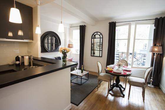 Cozy and charming Parisian living room at the Bandol
