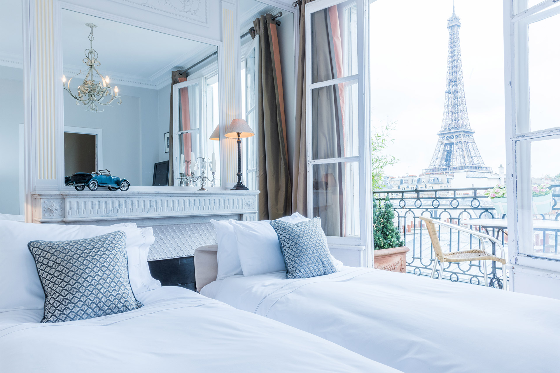 View of the Eiffel Tower from the convertible sofa bed in the Cognac vacation rental