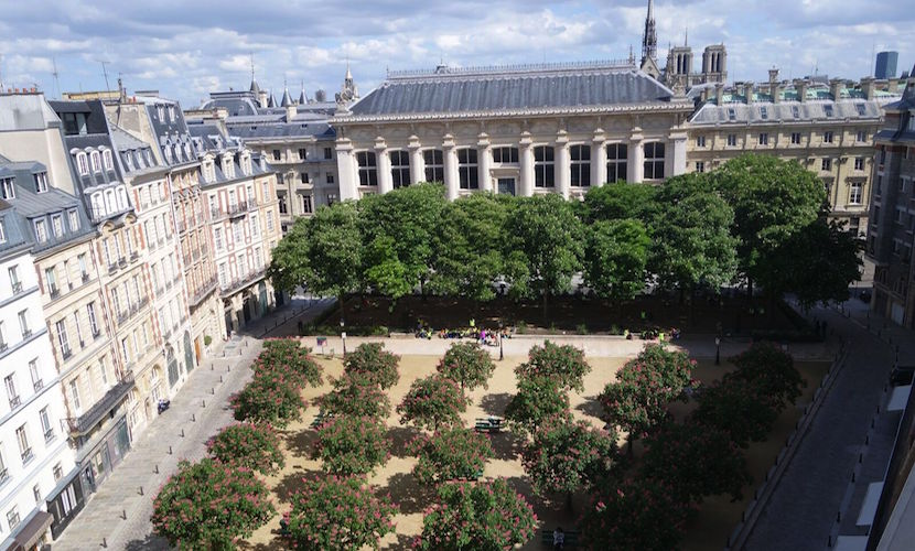 View overlooking the beautiful Place Dauphine from the Savennières vacation rental offered by Paris Perfect