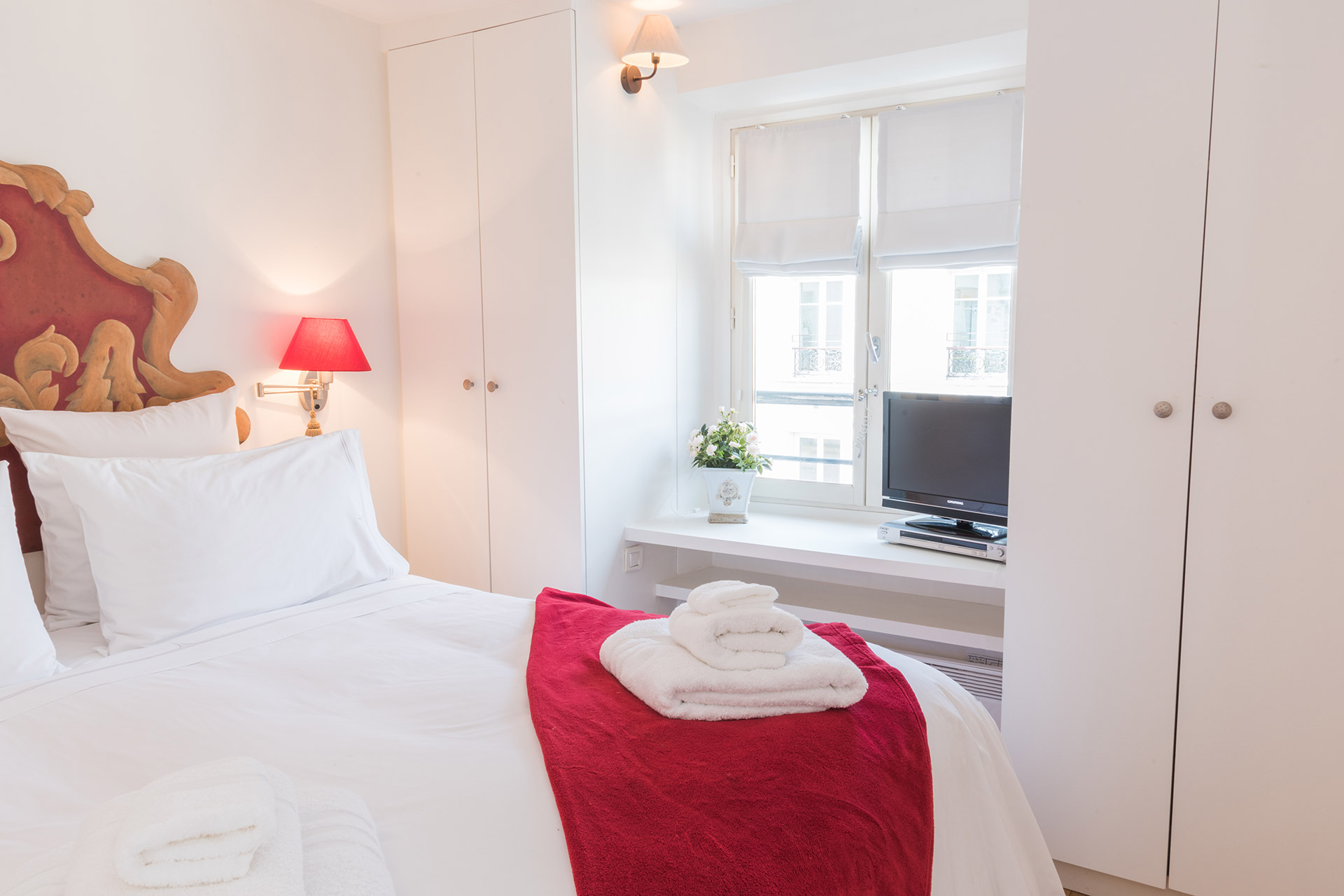 Large closets in the bedroom of the Pomerol vacation rental offered by Paris Perfect