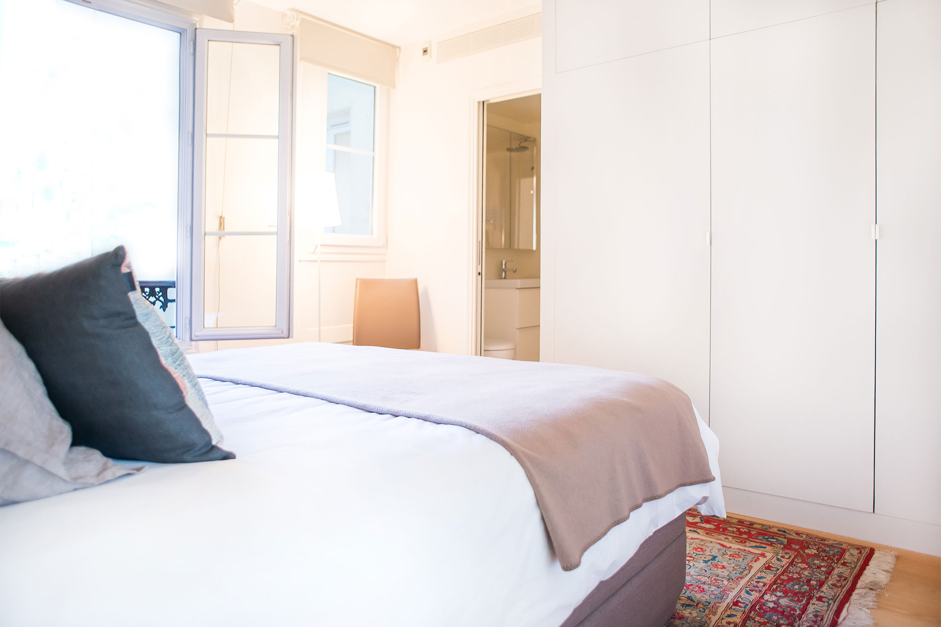 Large built in closets in the bedroom at Saint-Bris vacation rental with Paris Perfect