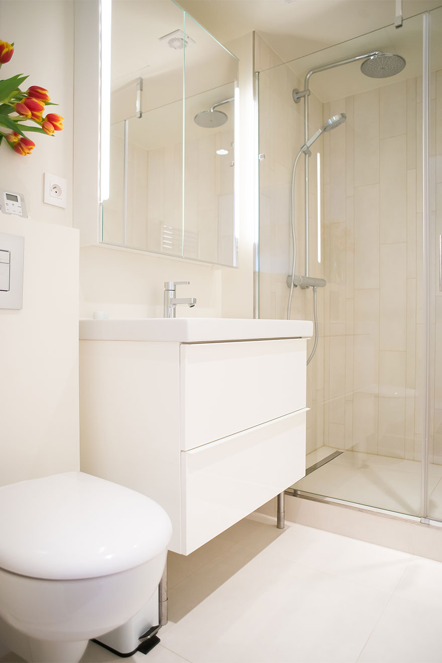 Clean and elegant en suite bathroom in the Saint-Bris rental