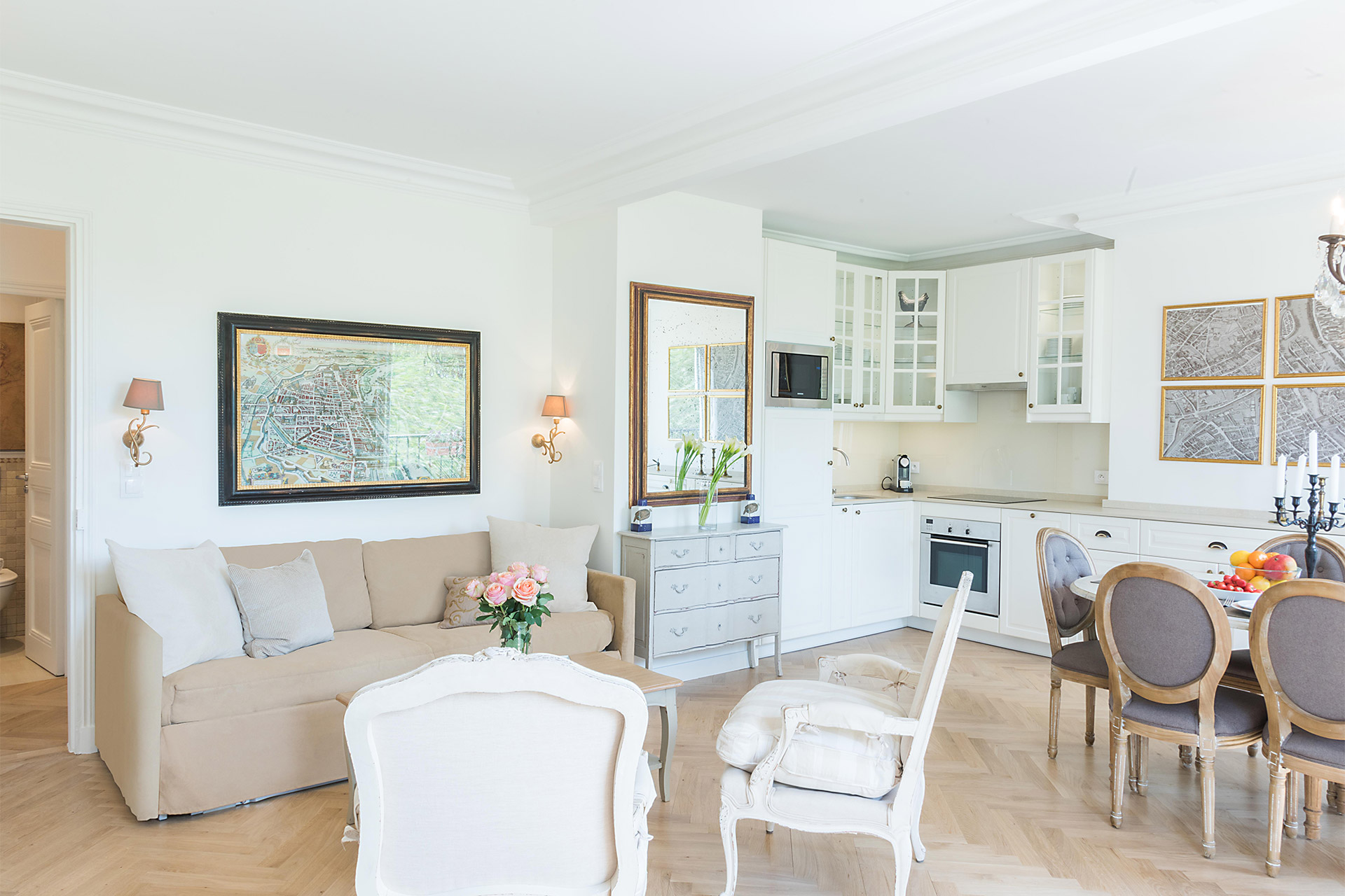 Open plan living, dining and kitchen of the Saint Emilion vacation rental offered by Paris Perfect