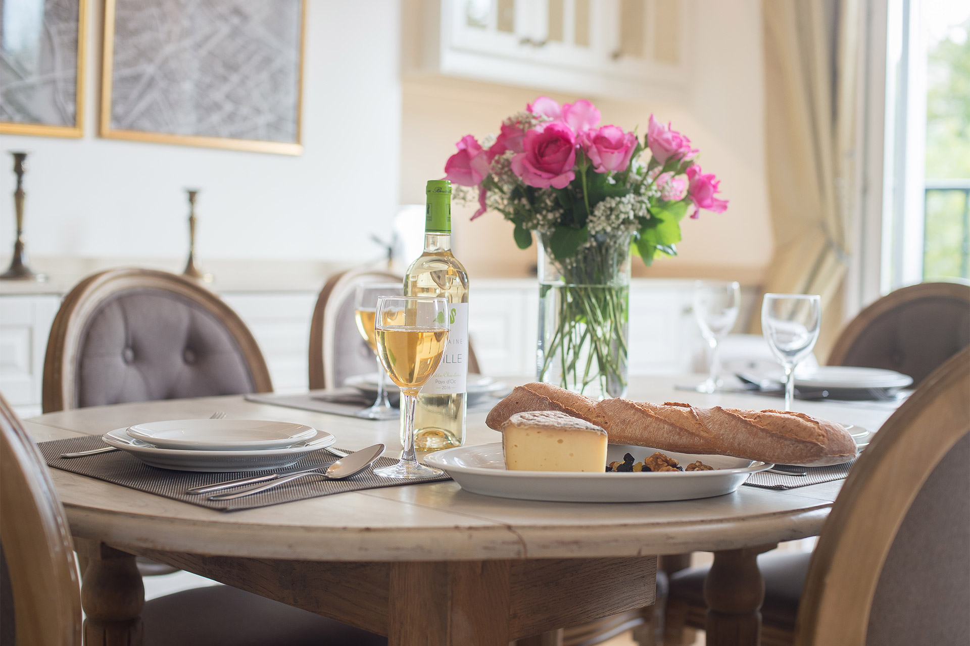 Save time and money dining at home in the Saint Emilion vacation rental offered by Paris Perfect