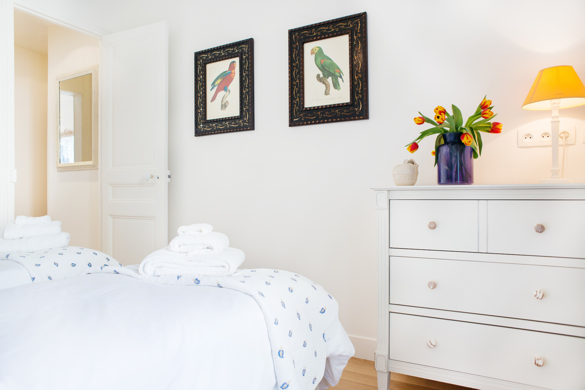 Two single beds in the second bedroom of the Vougeot vacation rental offered by Paris Perfect