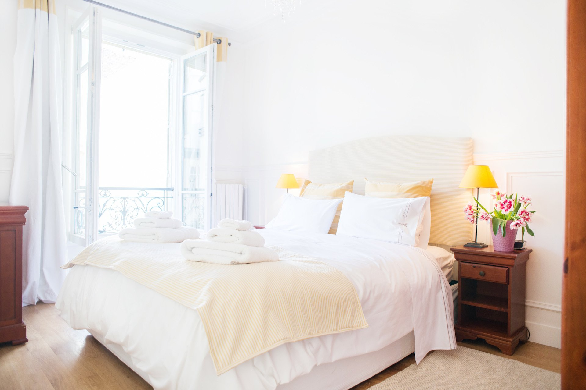 The elegant first bedroom of the Vougeot vacation rental offered by Paris Perfect