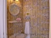 Paris Vacation Apartment Toilet - French Toile Wallpaper