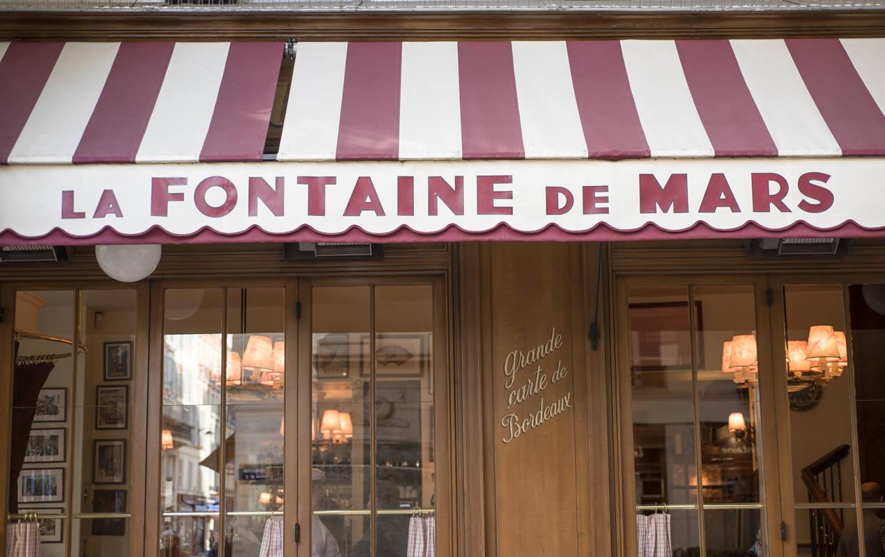 Café on the Fontaine de Mars around the corner