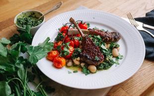 Garlic Lamb Chops with Warm Bean Salad & Persillade
